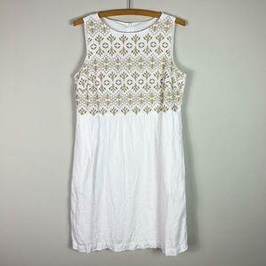 J. Jill  Linen White Sleeveless Embroider Dress